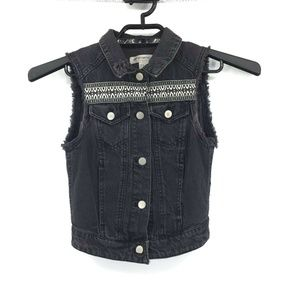H&M Loves Coachella Frayed Sleeveless Vest Sz 2